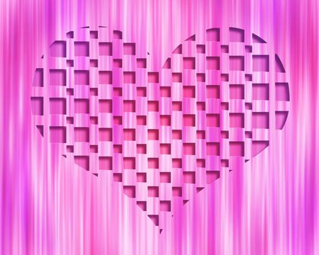 Pink striped background with 3D heart shape embedded in the center Stock Photo