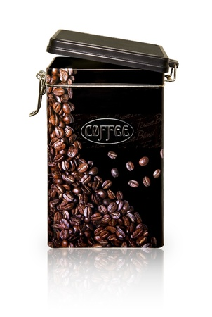 Black metallic coffee jar with coffee beans pattern