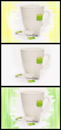 3 teacup variations with tea bags in yellow, green and isolated background Stock Photo
