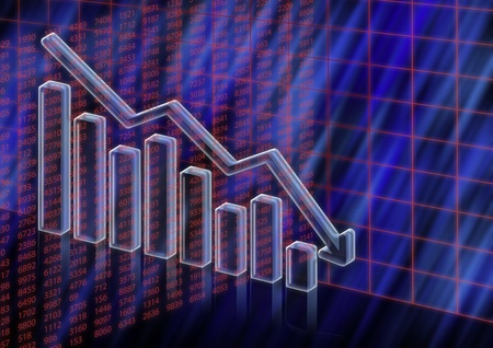 3D Illustration with data of stock value decreasing Stock Photo