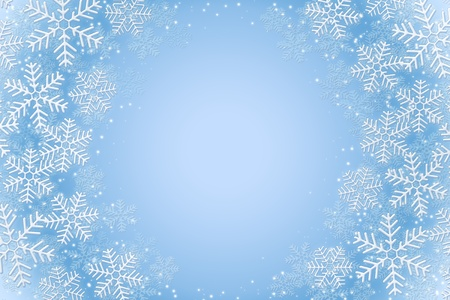 rime: Frosty snowflakes over light blue background Stock Photo