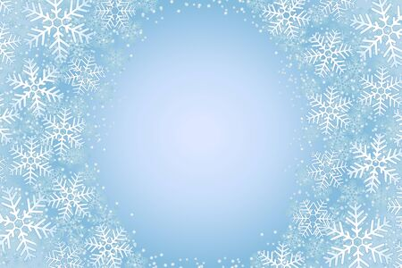 illustration of frosty snowflakes over a light blue background Illustration
