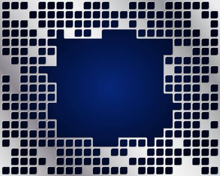 Dark blue background and metal grid layer with big copy space
