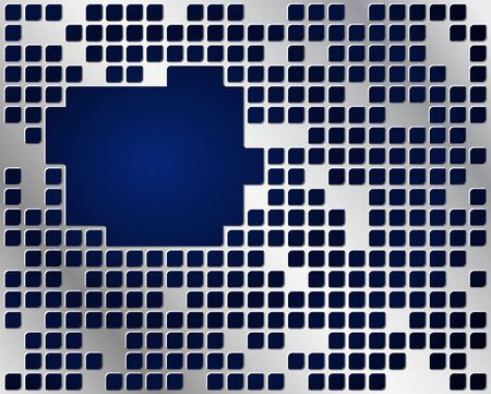 Dark blue background and metal grid layer with copy space