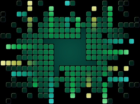 Abstract green mosaic vector with copy space Illustration