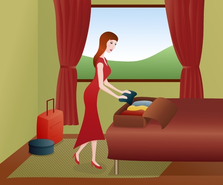 Vector illustration of beautiful smiling woman packing suitcases for a trip