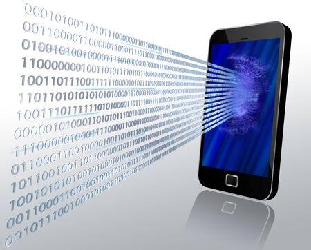 Illustration 3D du code binaire par écran tactile moderne de mobile