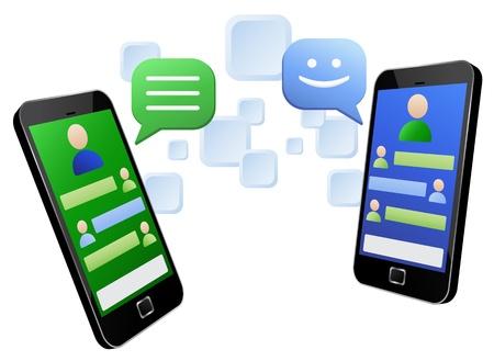 hablar por telefono: Ilustraci�n vectorial de mensajer�a entre dos m�viles de pantalla t�ctil