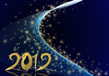 Golden New Year 2012 illustration on deep blue background with stars