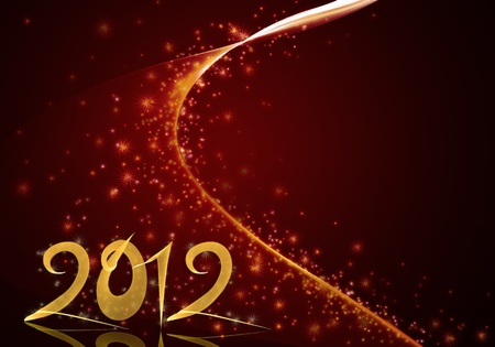 Golden New Year 2012 illustration on deep red background with stars