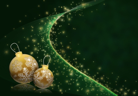 Christmas illustration with golden baubles on deep green starry background Stock Photo