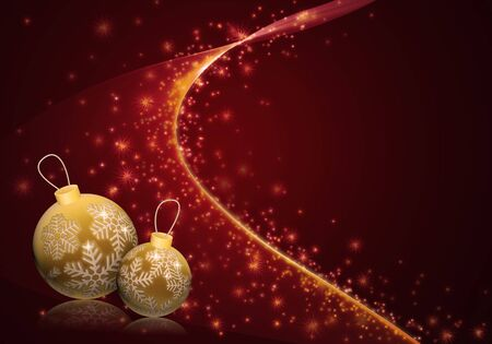 Christmas illustration with golden baubles on deep red starry background