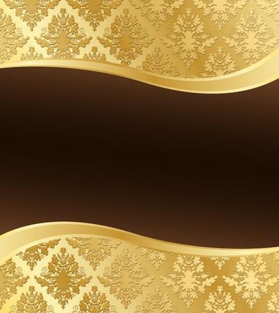 金: 波の形状やテキストの暗い茶色の場所と金のダマスク織のベクトル イラスト