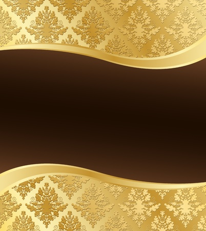 Vector illustration of Gold Damask with wave shape and a dark brown place for text Illustration
