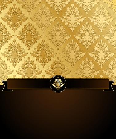 金: 黒いリボンとテキストの暗い茶色の場所と金のダマスク織のベクトル イラスト