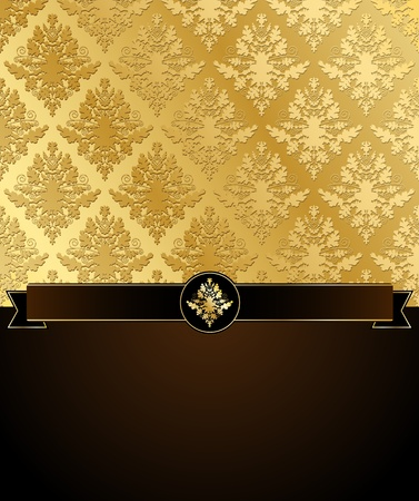 gold brown: Vector illustration of Gold Damask with black ribbon and a dark brown place for text