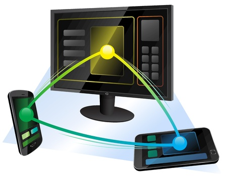 smartphone apps: Vector illustration of wireless communication between computer, mobile phone and tablet Illustration
