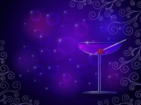 Purple cocktail glass illustration with bokeh background effect, swirls and a place for text Vector