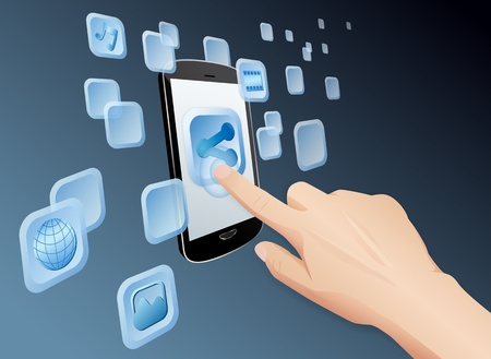 Vector illustration of hand pressing a share icon to share media to web with modern touch screen mobile phone