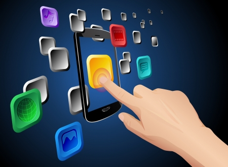 mobile app: Vector illustration of hand pressing a web app icon on cloud integrated touch screen mobile phone