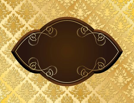 Vector illustration of wooden decorative plate on golden damask vintage background Vector