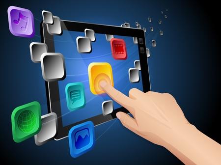 net surfing: Mano premendo cloud app icona sul computer tablet. file con livelli e raggruppati