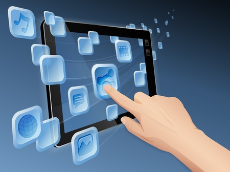 touch screen hand: Hand pressing a flowing share icon to share media to web with tablet. file layered, grouped and named Illustration