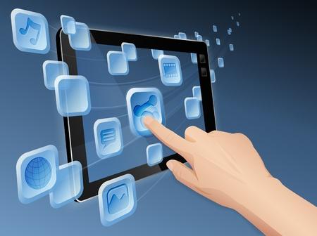 integrer: Main appuyant sur une ic�ne action revenant � partager des m�dias au web avec la tablette. d�poser en couches, regroup�es et nomm� Illustration
