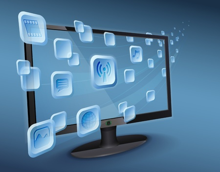 integrer: Streaming Media de nuage � la t�l�vision sur Internet avec WLAN. Illustration