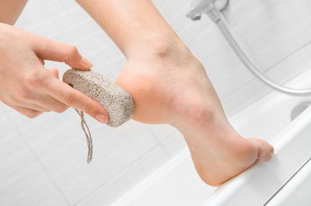 foot care: pumice foot Stock Photo