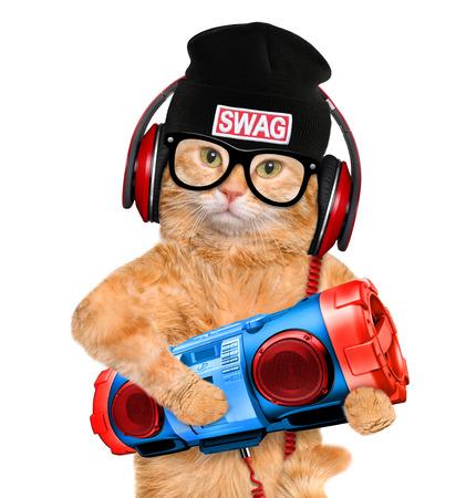 grabadora: Los auriculares Gato con grabadora de cinta.