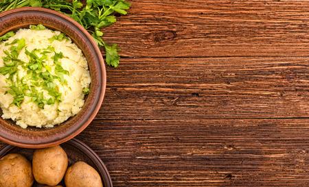 pure de papas: puré de patata Foto de archivo