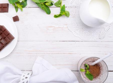 chocolate dessert: Milkshake. Stock Photo