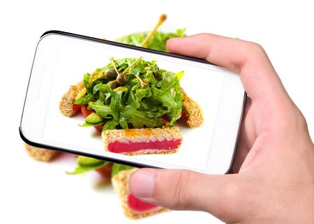 seafish: Hands taking photo fish with salad with smartphone Stock Photo