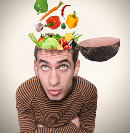 vegetarians: Food for thought. Stock Photo