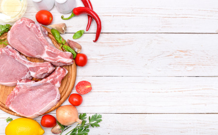 Raw ribs meat. Background.