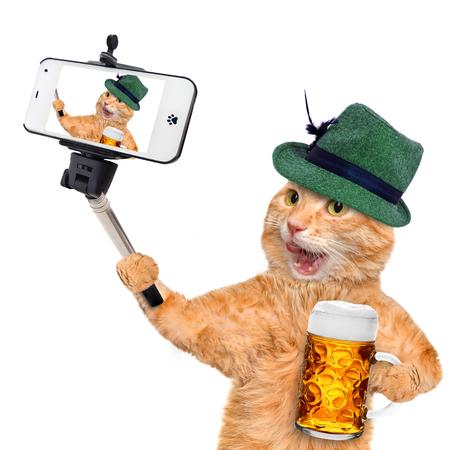 sombrero: Gato tomando un selfie con un tel�fono inteligente. Gato con una jarra de cerveza.