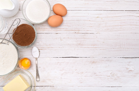 Baking cake ingredients. Background. Stock Photo