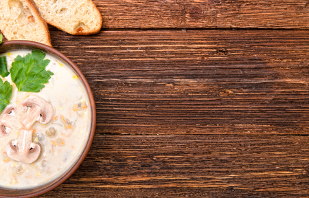 fresh vegetable: Mushroom soup. Background. Stock Photo