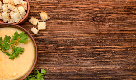 croutons: Pea soup with croutons. Background. Stock Photo
