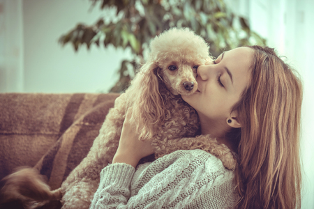 Jeune fille se repose avec un chien sur le fauteuil à la maison.