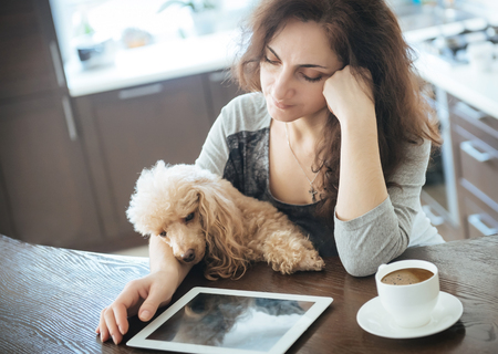 poodle: Young women is resting with a dog at home and using tablet.