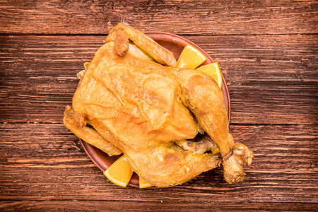 pullet: Roasted chicken with lemon and orange.