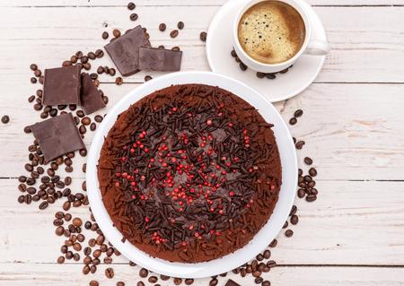 truffle: Truffle chocolate cake. Background. Stock Photo