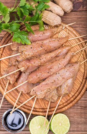 chicken satay: Thai raw chicken satay. Concept of cooking.
