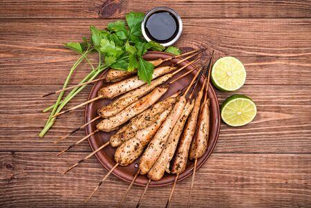 chicken satay: Thai chicken satay. Concept of cooking.