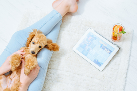 Young women is resting with a dog on the floor at home and using tablet. Stockfoto