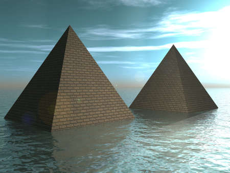 drowned: The Drowned pyramids. Fantasy, illustration Stock Photo