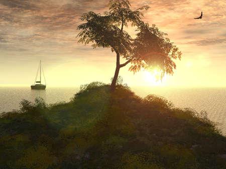 afterglow: The sundown on sea. The Illustration. 3D Stock Photo