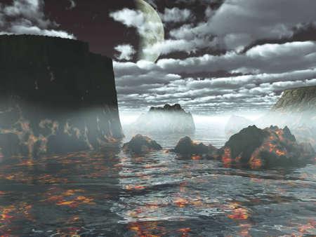 prehistorical: The prehistorical land volcanic, landscape, illustration 3D, fantasy